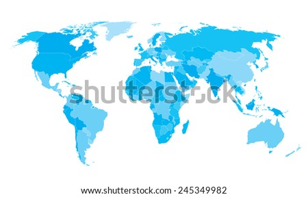 World map countries Cyan - stock vector