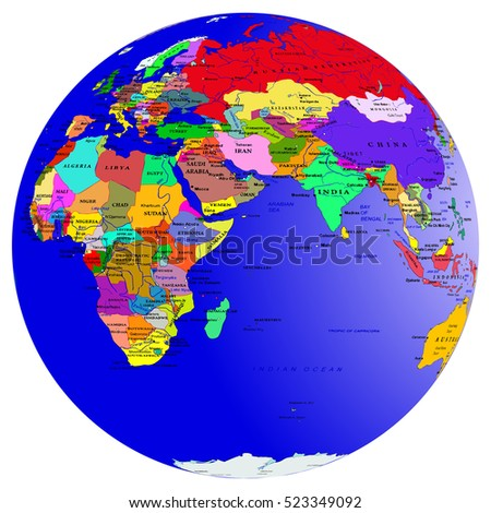 world map countries globe planet earth eastern hemisphere europe asia africa