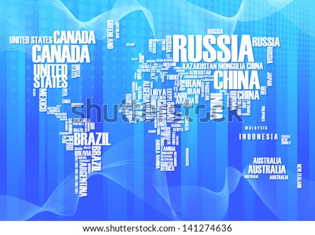 World map: countries in wordcloud - stock vector