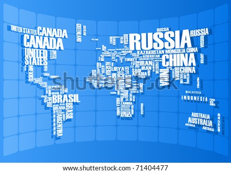 World Map Countries Wordcloud Stock Vector Shutterstock - Word map with countries
