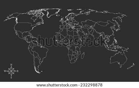 World map countries white outline gray stock photo photo vector world map countries white outline gray with north arrow eps10 vector gumiabroncs Image collections