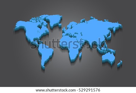 World Map - 3D Elevated Vector Design on Grey Background