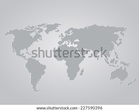 World Map 3d folded squares vector illustration - stock vector
