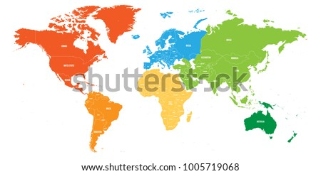 Simple World Map Flat. World map divided into six continents  Each continent in different color Simple flat vector Map Divided Into Six Continents Stock Vector 1005719068