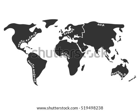 World map divided six continents dark stock vector royalty free world map divided to six continents in dark grey north america south america gumiabroncs