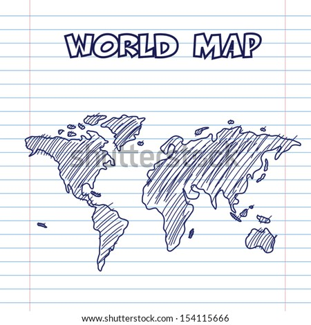 world map doodle pen ink, hand drawn style - stock vector