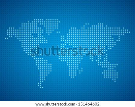 World map dot illustration on blue background. - stock vector