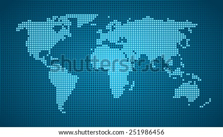 World Map - Dots Cyan Blue - stock vector