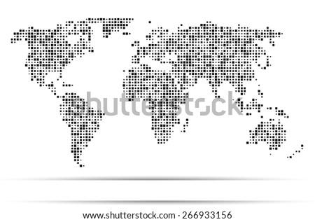 World map dots random size black - stock vector
