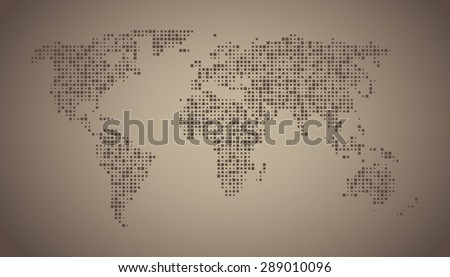 World map dots square random size - stock vector