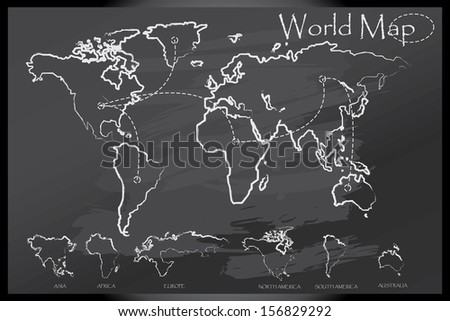 World map draw on blackboard - stock vector