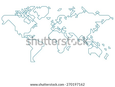 World map drawn with thin line on a invisible grid of rounded squares and triangles - stock vector