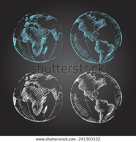 World Map Earth Globe. Sketch. Vector illustration. Chalk on a blackboard. - stock vector