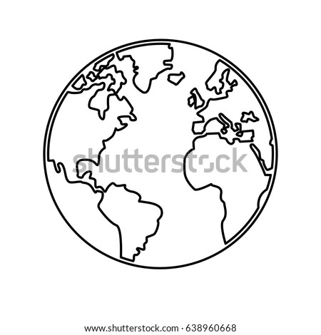 World Map Earth Globes Cartography Continents Stock Vector - World outline