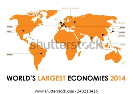 world map economy background - stock vector
