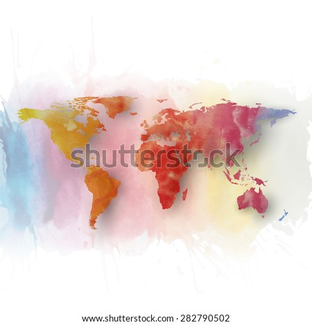 World map element, abstract hand drawn watercolor background, great composition for your design, vector illustration. - stock vector