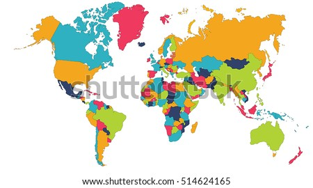 World Map Europe Asia North America Stock Vector 2018 514624165