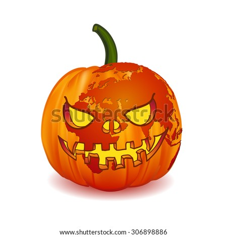World map Europe Zone on Scary Jack O Lantern Halloween pumpkin with candle light inside. for web and mobile app, illustration, vector, isolated on white background - stock vector