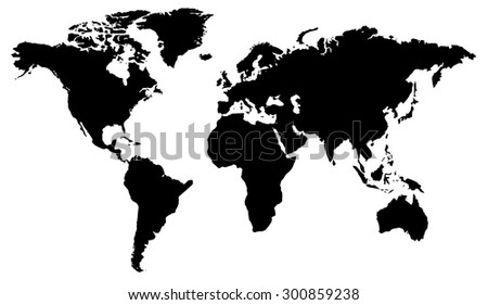 World map flat design black white stock vector 300859238 shutterstock world map flat design in black and white gumiabroncs Images
