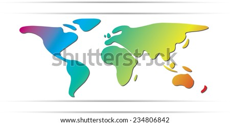 World Map freehand continents rainbow color - stock vector