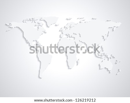 World Map (From NASA Public Domain http://earthobservatory.nasa.gov/Globa lMaps) in Grey - stock vector