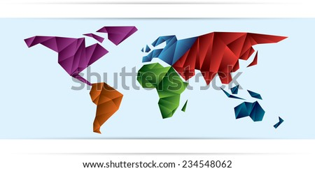 World Map frozen triangles of continents different color - stock vector