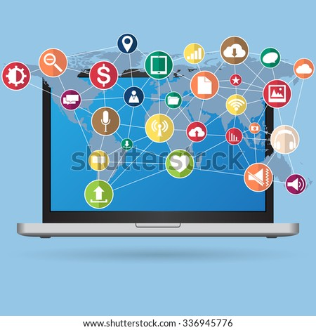 World Map Globe cloud computing concept with Web icons, Business icons and Technology icons for technology and business concept on tablet computer, Vector Illustration EPS 10. - stock vector