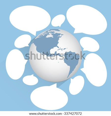 World Map Globe community with cloud speech bubbles for technology and business concept, Vector Illustration EPS 10. - stock vector