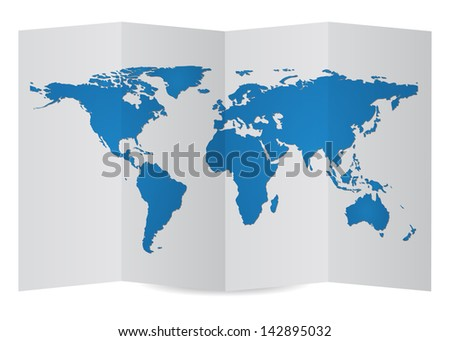 World Map Globe on Folder Paper, Vector Illustration EPS 10. - stock vector