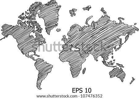 World Map Globe Vector line Illustrator, EPS 10. - stock vector