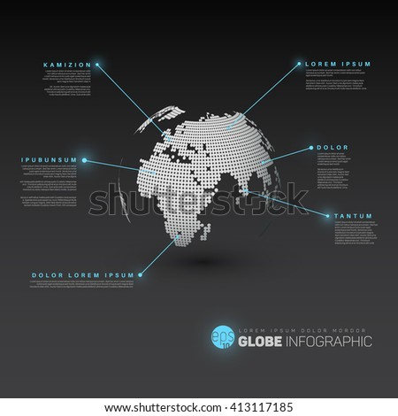 World map globe pointer marks dark stock vector 413117185 world map globe with pointer marks dark version with light blue effect pointers sciox Image collections