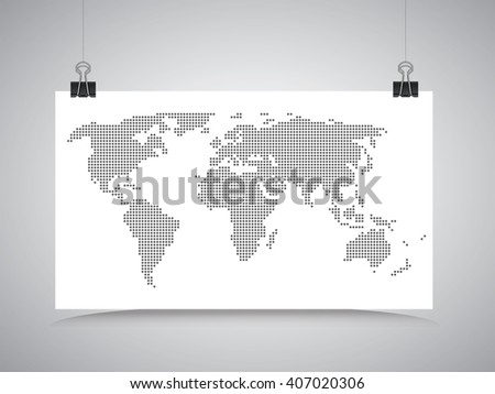 World map hanging on the clips. Gray design woth white - stock vector