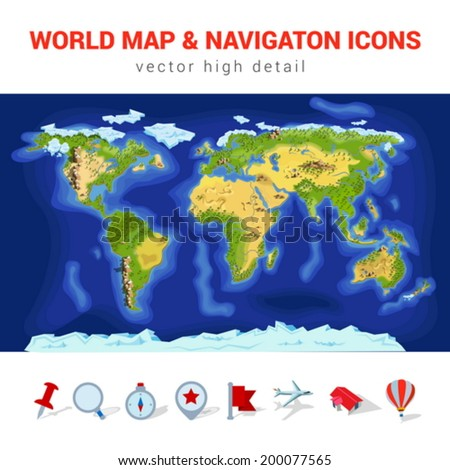 World map high detail vector navigation stock vector 2018 world map high detail vector navigation icon set america asia europe africa gumiabroncs Images