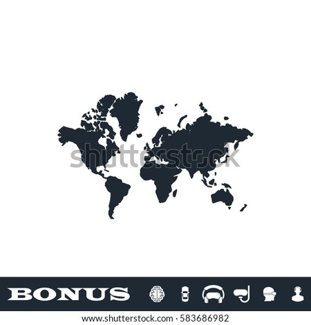 World map icon flat black pictogram stock vector 583686982 world map icon flat black pictogram on white background vector illustration symbol and bonus gumiabroncs Choice Image