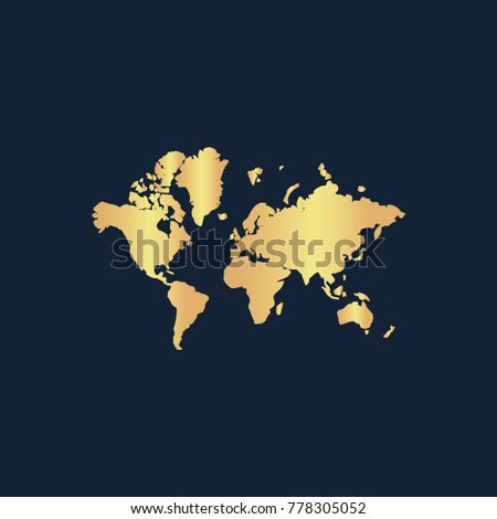 World map icon flat simple gold stock vector 2018 778305052 world map icon flat simple gold pictogram on dark background vector illustration symbol gumiabroncs Images