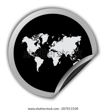 World map icon round vector sticker stock vector 2018 287813108 world map icon round vector sticker gumiabroncs Choice Image