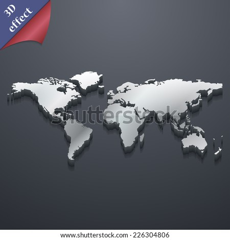 World map icon symbol. 3D style. Trendy, modern design with space for your text Vector illustration - stock vector