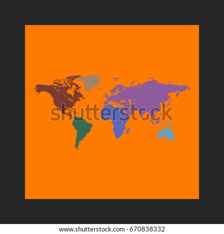 World map icon vector flat simple vectores en stock 670838332 world map icon vector flat simple pictogram on orange background illustration symbol color gumiabroncs Gallery