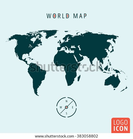 World map icon. World map with compass isolated, minimal design. Vector illustration