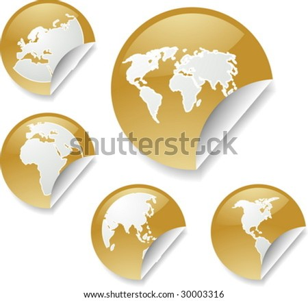 World map icons on round sticker stock vector 30003316 shutterstock world map icons on round sticker shapes gumiabroncs Choice Image