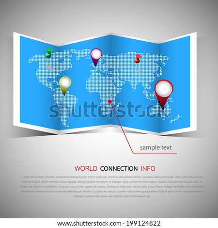 world map illustration and info graphics design  - stock vector
