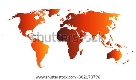 World map illustration in hot orange gradient - stock vector