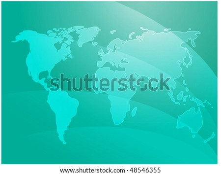 World map illustration with abstract wavy design