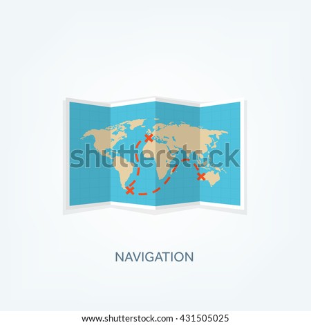 World map flat style earthglobe route planning asia africa north world map in a flat styleearthglobeute planningp of gumiabroncs Choice Image
