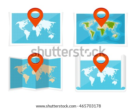 World map flat styleearthgloberoute planning asiaafricanorth stock world map in a flat styleearthglobeute planningp of gumiabroncs Gallery