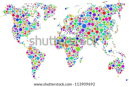 World map in a mosaic of harlequin bubbles. A number of 1817 circles have been inserted into the mosaic - stock vector