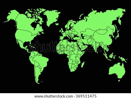 World map black background stock vector 369511475 shutterstock world map in black background gumiabroncs Images
