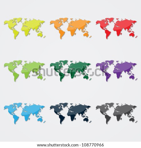 World Map in Different Colors - stock vector