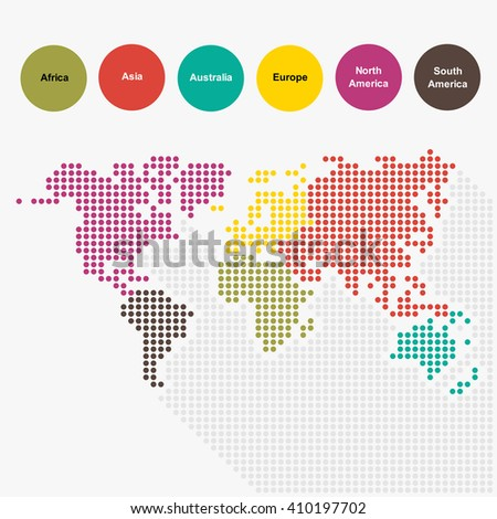 World map in dot style pattern is separated to each continent by color.(EPS10 art vector.) - stock vector