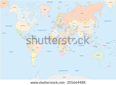 World map german language stock vector 205664488 shutterstock world map in german language gumiabroncs Image collections